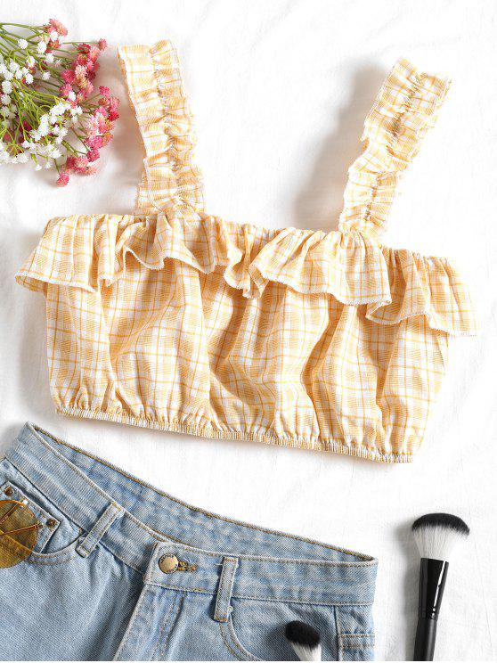 shop Cropped Plaid Ruffle Tank Top - LIGHT YELLOW S