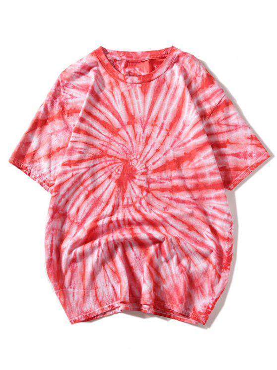 Camiseta de manga corta con efecto tie dye - Rojo 2XL