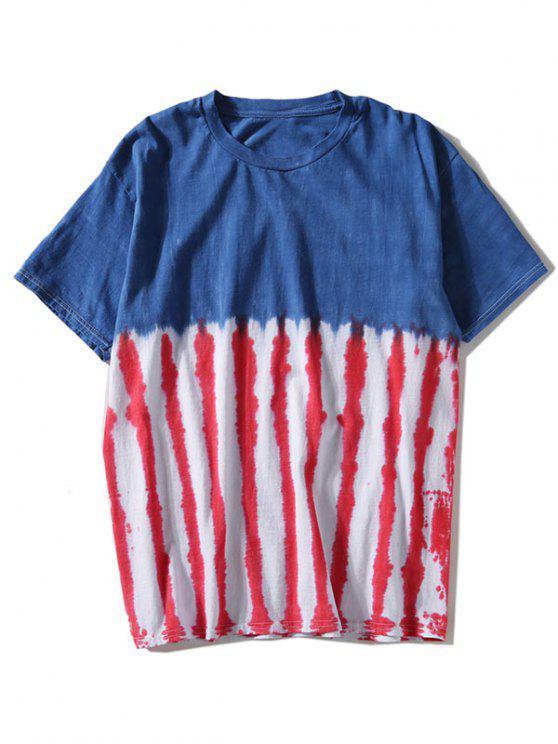 T-shirt com listras tintadas - Azul 2XL