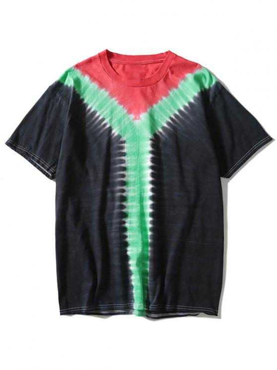 lady Tricolor Tie Dyed T-shirt - BLACK 3XL