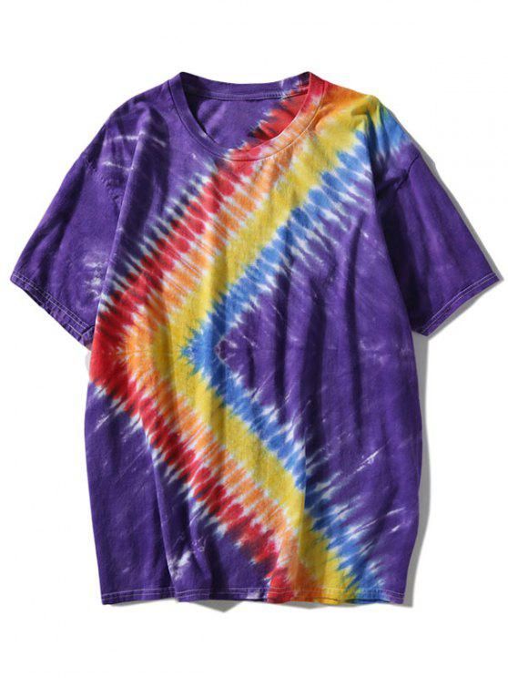 hot Rainbow Tie Dyed T-shirt - PURPLE 3XL