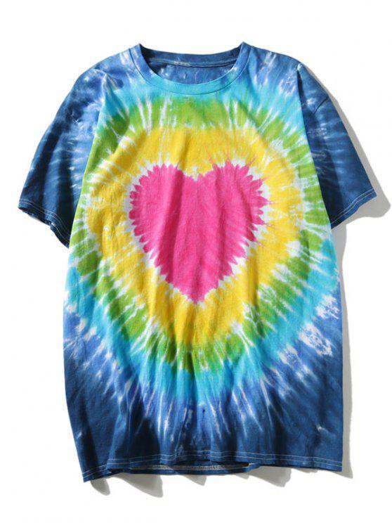 trendy Short Sleeve Tie Dye Heart Tee - COLORMIX XL