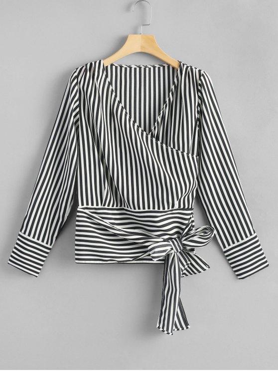 89a52543dc5e3e 29% OFF  2019 Crossed Front Tie Striped Blouse In STRIPE