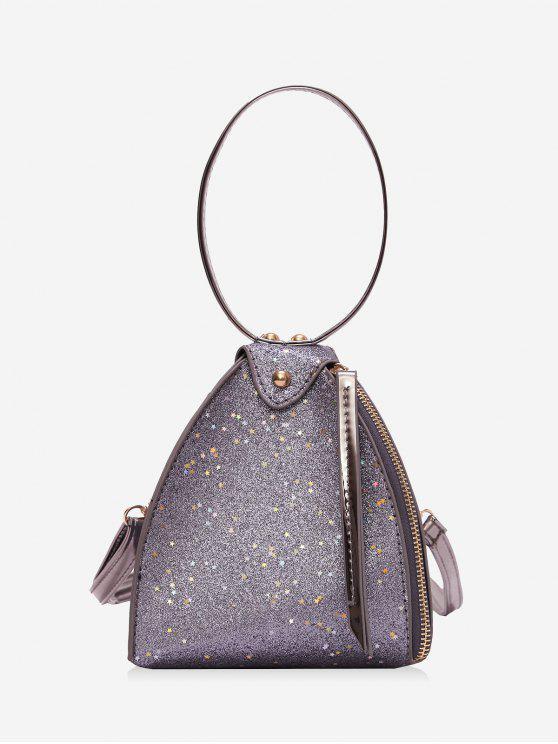 بريق النجوم مثلث حقيبة يد - فضة