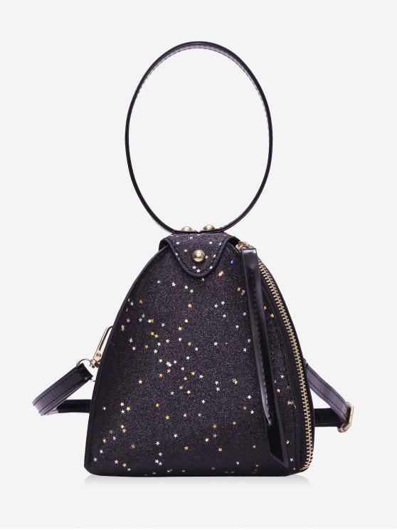 buy Glitter Stars Triangle Handbag - BLACK