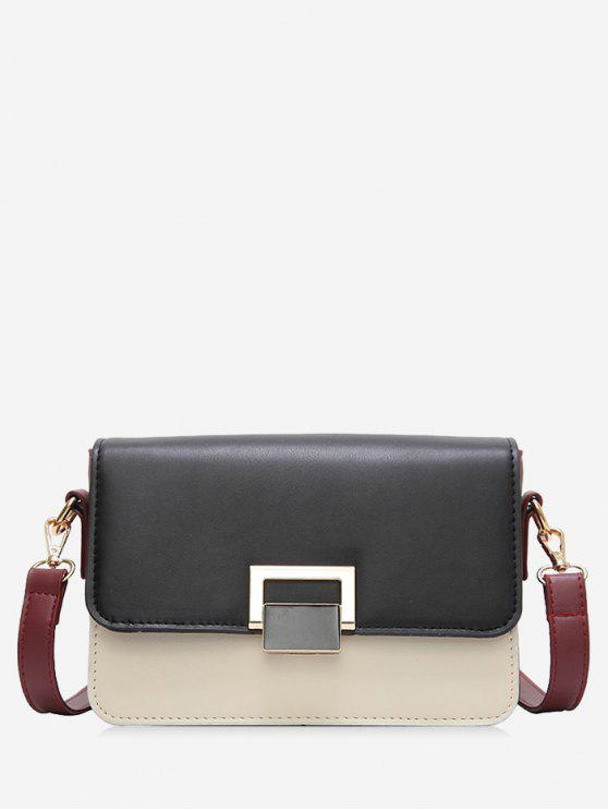 chic Contrasting Color Metal Crossbody Bag - BLACK