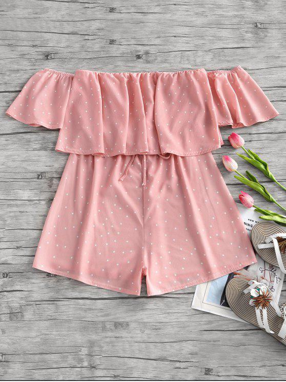 outfit Polka Dot Pattern Off Shoulder Romper - PINK M