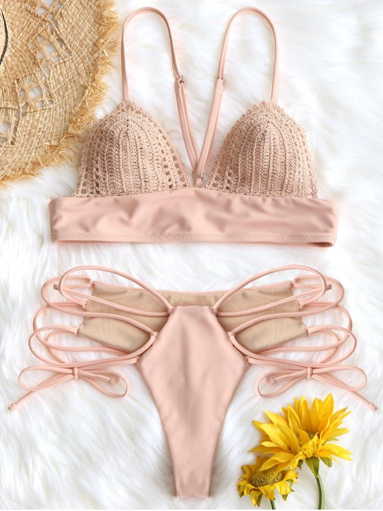 unique Bralette Crochet Panel Lace Up Bikini Set - PINK L