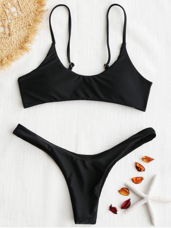gepolsterthohe geschnitten Bikini Set - Schwarz S