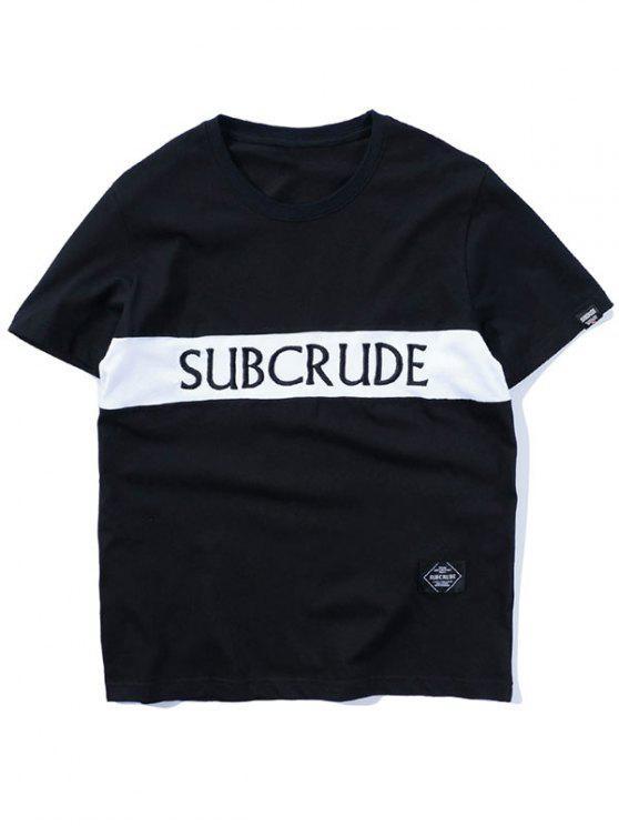 T-shirt con ricamo a contrasto di colore - Nero L