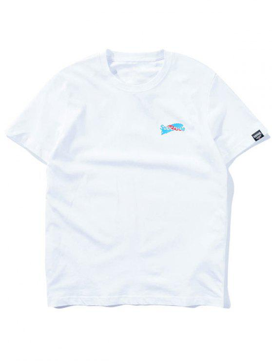 hot Short Sleeve Graphic T-shirt - WHITE 2XL