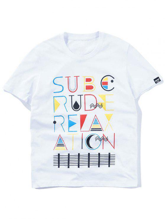 T-shirt gráfico colorido manga curta - Branco XL
