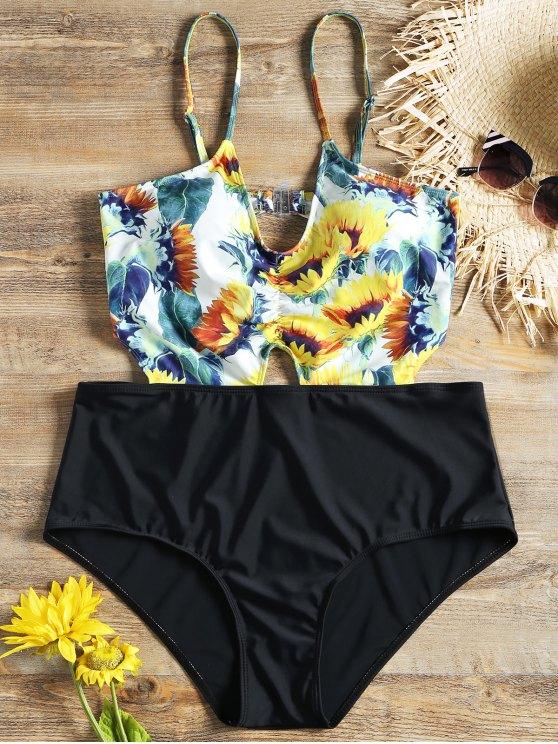 Monokini Grande Taille à Tournesol à Taille Haute - Noir XL