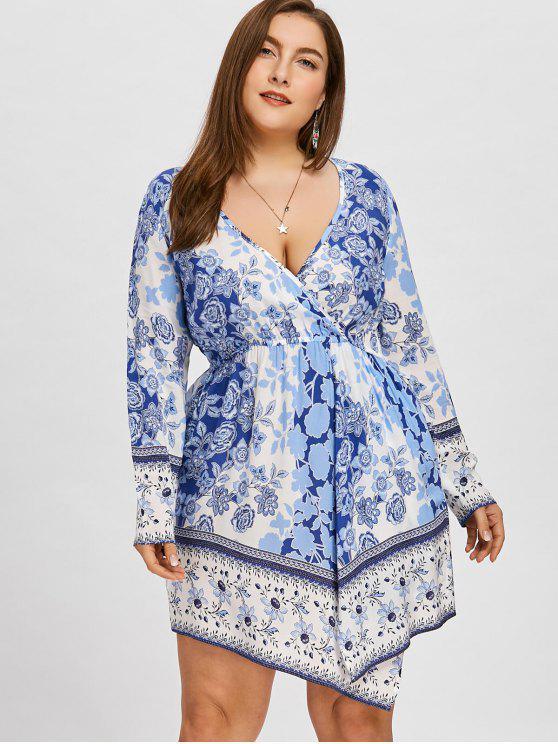 lady Plus Size Plunge Asymmetrical Floral Mini Dress - BLUE 3XL