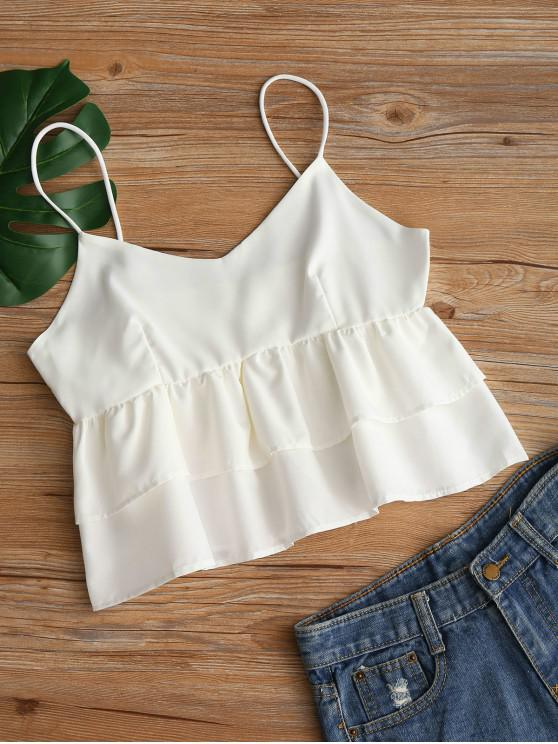 trendy Plain Tiered Cami Top - WHITE M