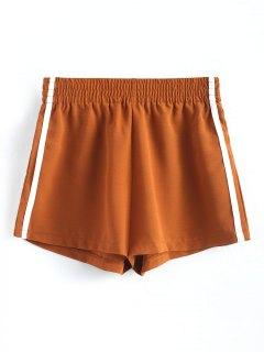 Smocked Waist Ribbons Trim Shorts - Light Brown M