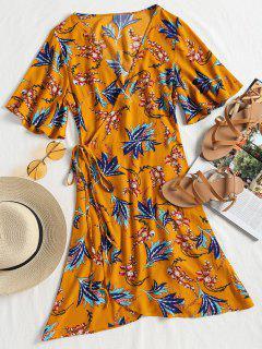 Kimono Sleeve Wrap Floral Mini Dress - Mustard L