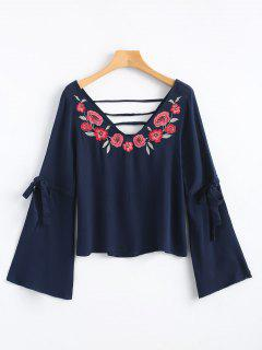 Cutout Floral Embroidered Blouse - Purplish Blue S