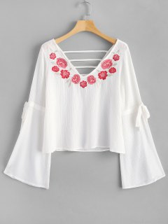 Cutout Floral Embroidered Blouse - White L