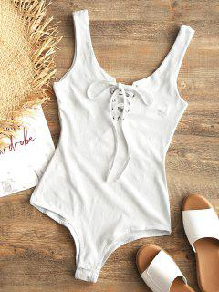 Snap Button Lace Up Swim Bodysuit - White L