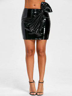 Bowknot Latex Mini Skirt - Black S
