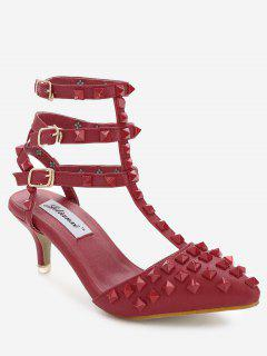 Ankle Wrap Multi Buckles Sandals - Red 35