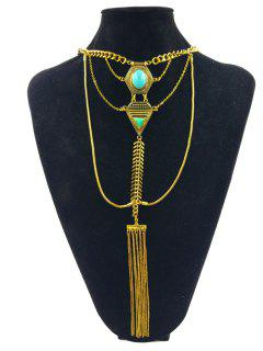 Vintage Faux Turquoise Geometric Necklace - Golden