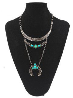 Artificial Turquoise Tribal Moon Teardrop Necklace - Silver