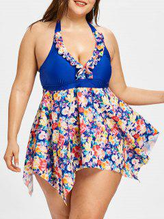 Halter Floral Skirted Plus Size Tankini Set - Blue 4xl