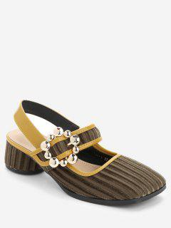 Buckle Strap Chunky Heel Sandals - Light Brown 36