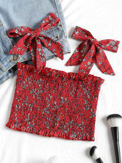 Cropped Tiny Floral Shirred Tank Top - Red M