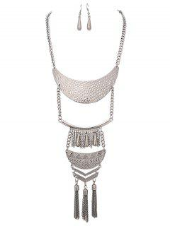 Alloy Teardrop Fringed Necklace With Earring Set - Silver