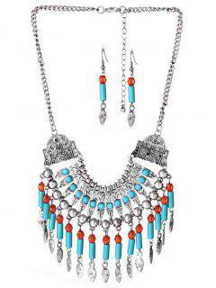 Bohemian Engraved Beads Necklace With Earring Set - Silver