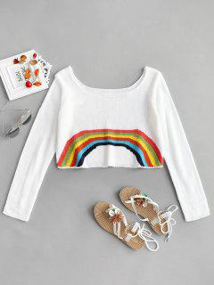 Rainbow Cropped Sweater - White