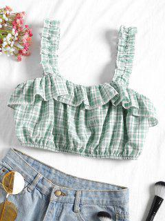 Camiseta Sin Mangas Con Volantes Y Cuadros - Verde Claro L