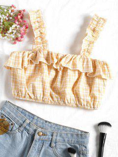 Camiseta Sin Mangas Con Volantes Y Cuadros - Luz Amarilla L