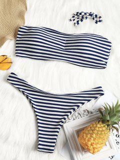 Bandeau Textured Striped Bathing Suit - Stripe M
