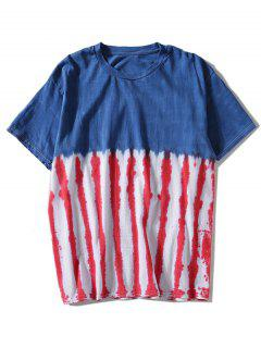 Tie Dyed Striped T-shirt - Blue L