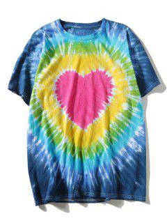 Kurzarm Tie Dye Herz T-Shirt - L