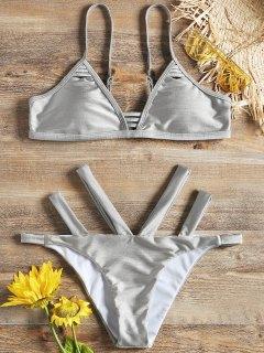 Shiny Padded Bra With Bandage Swim Bottoms - Frost M