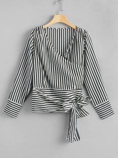 Crossed Front Tie Striped Blouse - Stripe L