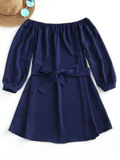 Off Shoulder Plain Belted Dress - Purplish Blue M