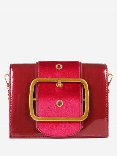 Square Buckled Chain Crossbody Bag - Red