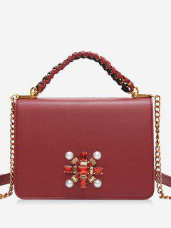 Faux Crystal Chain Braid Crossbody Bag - Red