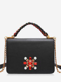 Faux Crystal Chain Braid Crossbody Bag - Black