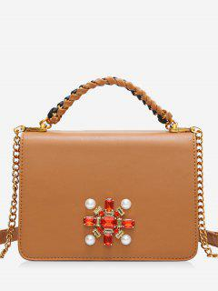 Faux Crystal Chain Braid Crossbody Bag - Brown