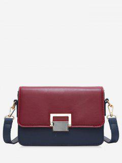 Contrasting Color Metal Crossbody Bag - Red