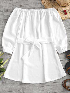 Vestido Con Cinturón Sin Hombros - Blanco M