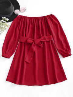 Vestido Con Cinturón Sin Hombros - Rojo S