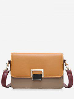 Contrasting Color Metal Crossbody Bag - Brown